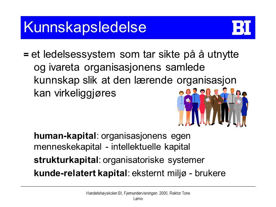 Handelshøyskolen BI, Fjernundervisningen 2000, Rektor Tone Lømo Kunnskapsledelse = et ledelsessystem som tar sikte på å utnytte og ivareta organisasjo
