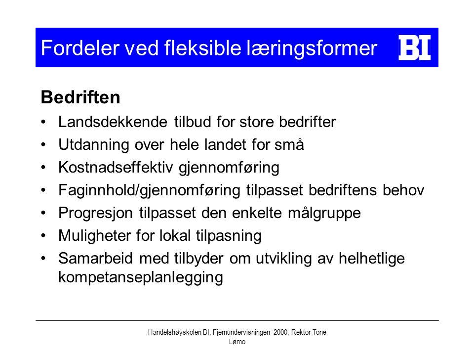 Handelshøyskolen BI, Fjernundervisningen 2000, Rektor Tone Lømo Fordeler ved fleksible læringsformer Bedriften Landsdekkende tilbud for store bedrifte