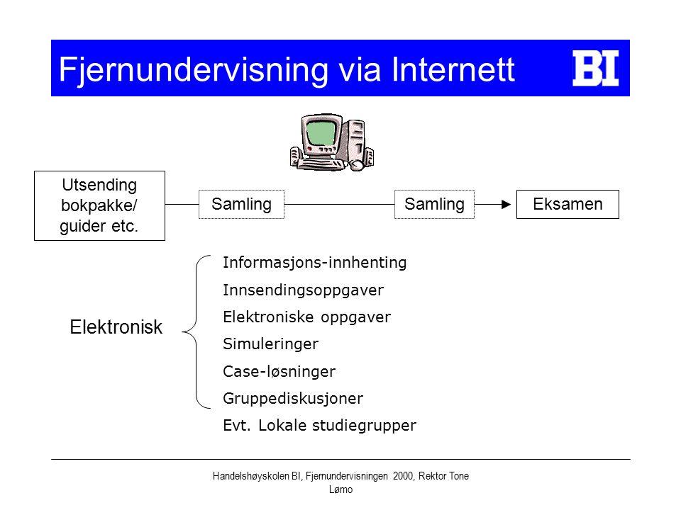 Handelshøyskolen BI, Fjernundervisningen 2000, Rektor Tone Lømo Fjernundervisning via Internett Samling Eksamen Elektronisk Informasjons-innhenting In