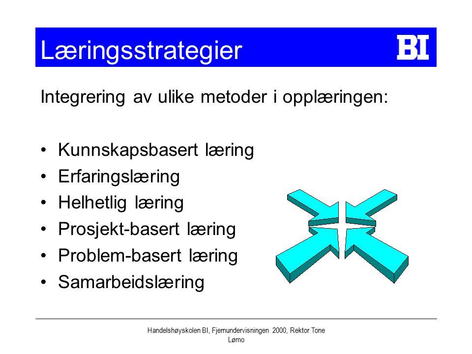 Handelshøyskolen BI, Fjernundervisningen 2000, Rektor Tone Lømo Læringsstrategier Integrering av ulike metoder i opplæringen: Kunnskapsbasert læring E