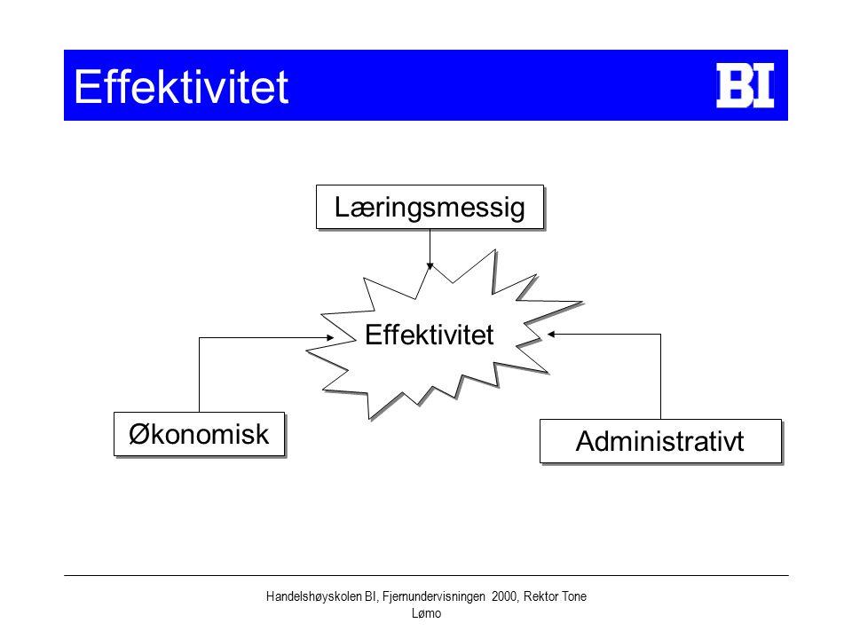 Handelshøyskolen BI, Fjernundervisningen 2000, Rektor Tone Lømo Effektivitet Læringsmessig Økonomisk Administrativt Effektivitet