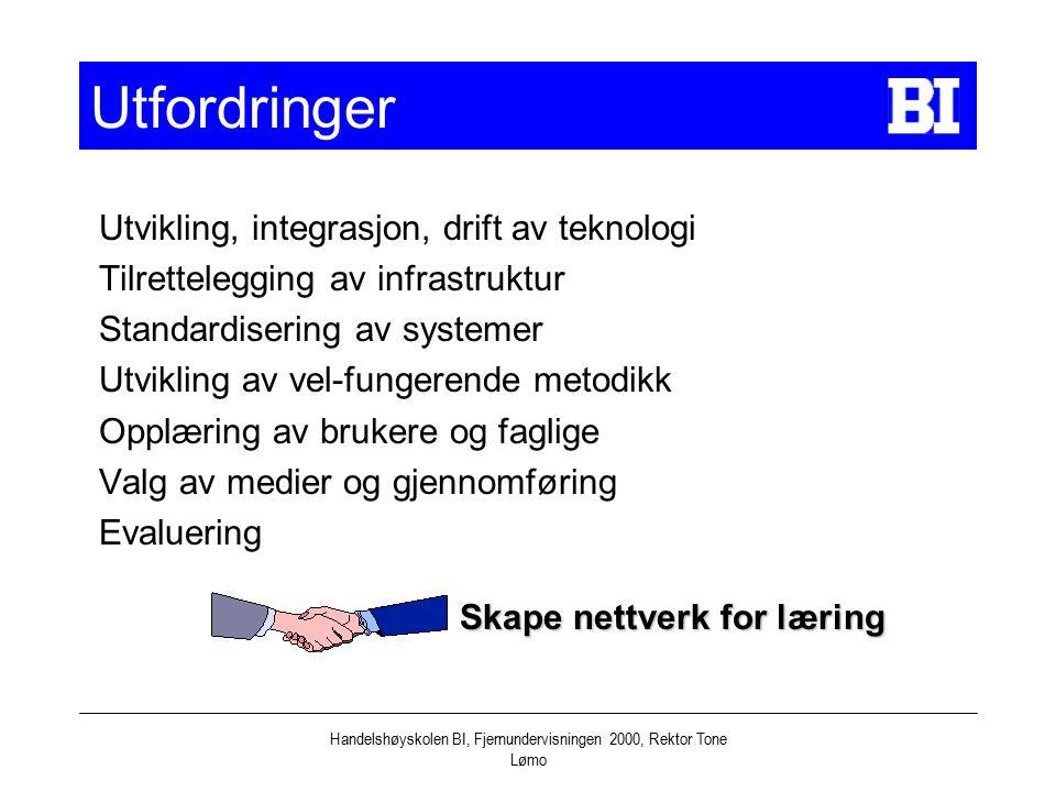 Handelshøyskolen BI, Fjernundervisningen 2000, Rektor Tone Lømo Utfordringer Utvikling, integrasjon, drift av teknologi Tilrettelegging av infrastrukt