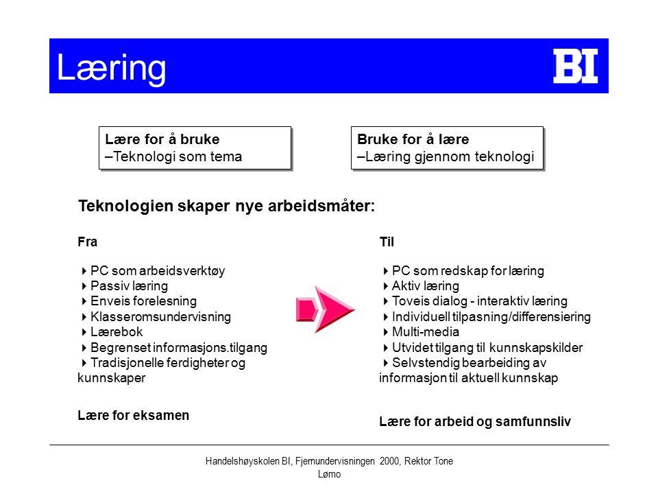 Handelshøyskolen BI, Fjernundervisningen 2000, Rektor Tone Lømo Læring Lære for å bruke –Teknologi som tema Lære for å bruke –Teknologi som tema Bruke for å lære –Læring gjennom teknologi Bruke for å lære –Læring gjennom teknologi Teknologien skaper nye arbeidsmåter: Fra  PC som arbeidsverktøy  Passiv læring  Enveis forelesning  Klasseromsundervisning  Lærebok  Begrenset informasjons.tilgang  Tradisjonelle ferdigheter og kunnskaper Lære for eksamen Til  PC som redskap for læring  Aktiv læring  Toveis dialog - interaktiv læring  Individuell tilpasning/differensiering  Multi-media  Utvidet tilgang til kunnskapskilder  Selvstendig bearbeiding av informasjon til aktuell kunnskap Lære for arbeid og samfunnsliv