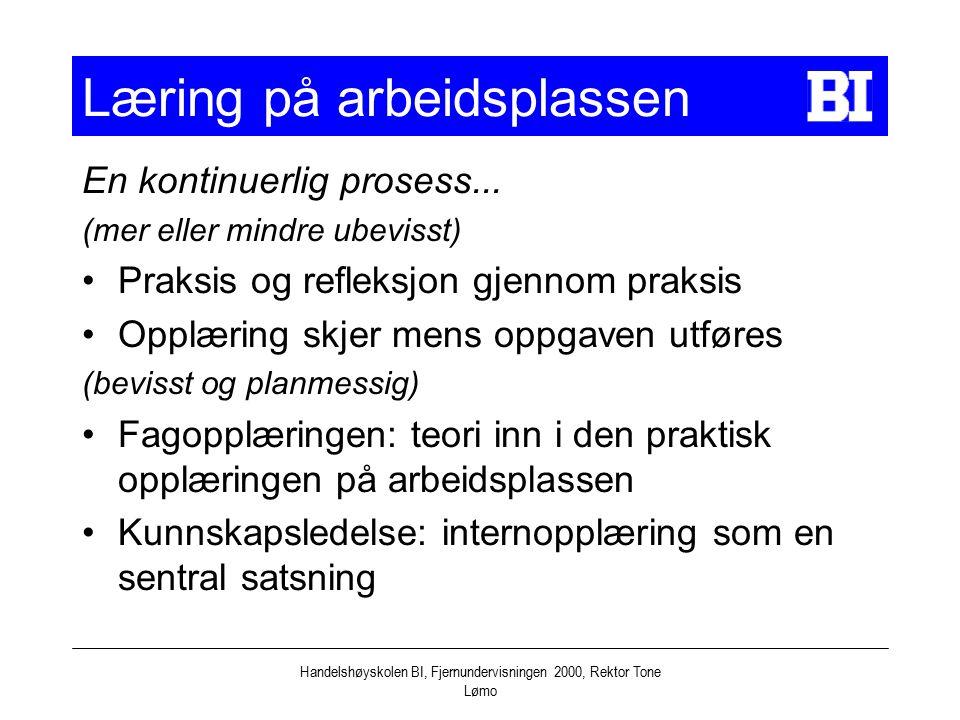 Handelshøyskolen BI, Fjernundervisningen 2000, Rektor Tone Lømo Læring på arbeidsplassen En kontinuerlig prosess...