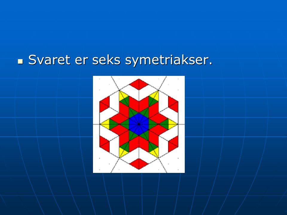 Svaret er seks symetriakser. Svaret er seks symetriakser.