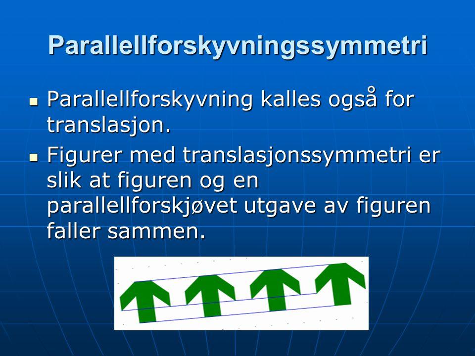 Parallellforskyvningssymmetri Parallellforskyvning kalles også for translasjon. Parallellforskyvning kalles også for translasjon. Figurer med translas