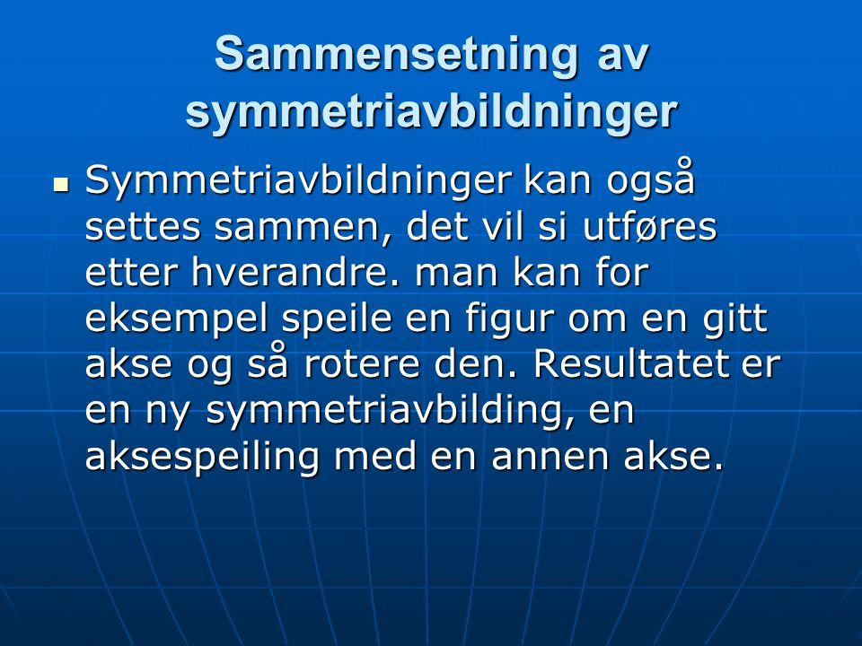 Sammensetning av symmetriavbildninger Symmetriavbildninger kan også settes sammen, det vil si utføres etter hverandre. man kan for eksempel speile en