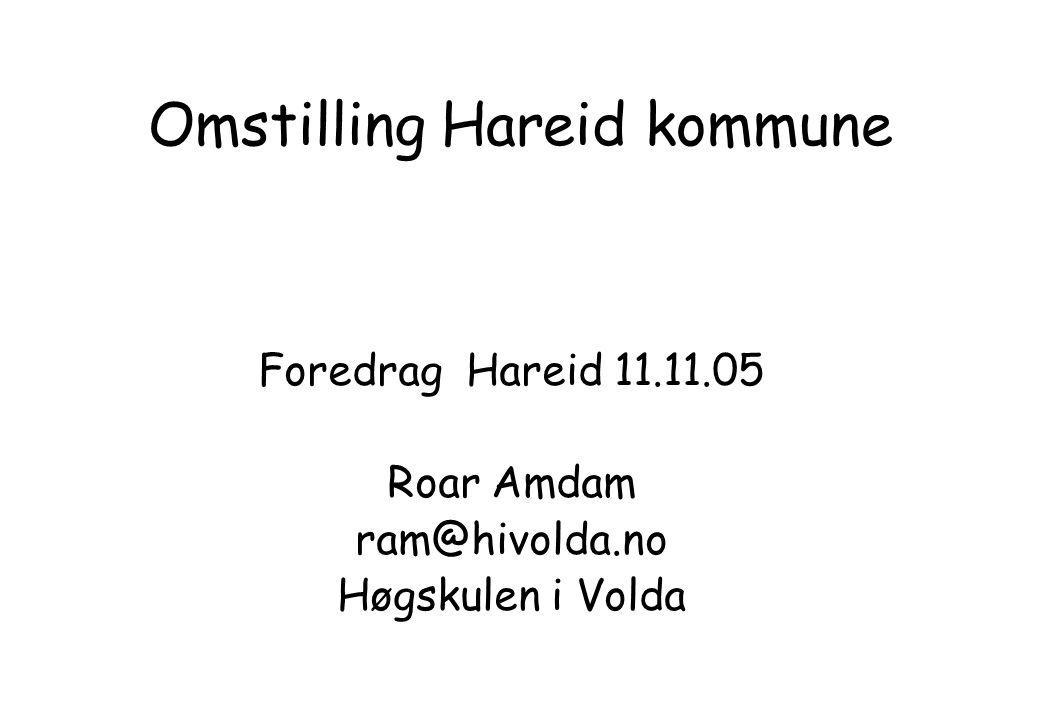 Omstilling Hareid kommune Foredrag Hareid 11.11.05 Roar Amdam ram@hivolda.no Høgskulen i Volda