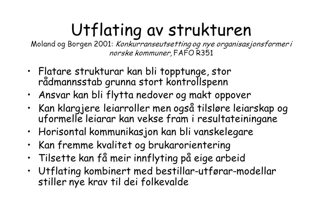 Utflating av strukturen Moland og Borgen 2001: Konkurranseutsetting og nye organisasjonsformer i norske kommuner, FAFO R351 Flatare strukturar kan bli