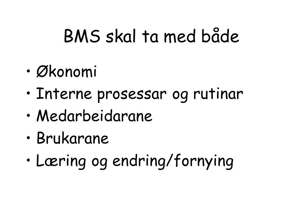 BMS skal ta med både Økonomi Interne prosessar og rutinar Medarbeidarane Brukarane Læring og endring/fornying