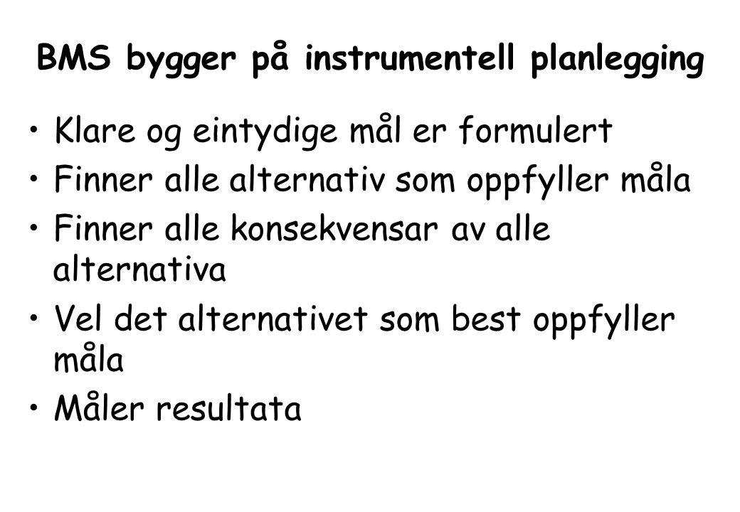 BMS bygger på instrumentell planlegging Klare og eintydige mål er formulert Finner alle alternativ som oppfyller måla Finner alle konsekvensar av alle