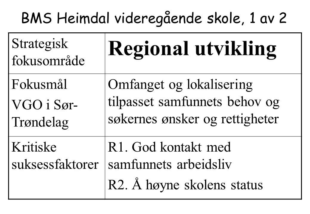 BMS Heimdal videregående skole, 1 av 2 Strategisk fokusområde Regional utvikling Fokusmål VGO i Sør- Trøndelag Omfanget og lokalisering tilpasset samf