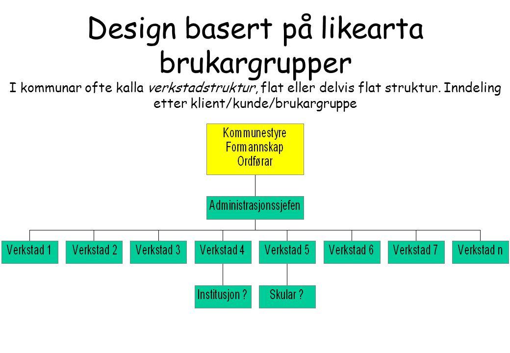 Design basert på likearta brukargrupper I kommunar ofte kalla verkstadstruktur, flat eller delvis flat struktur. Inndeling etter klient/kunde/brukargr