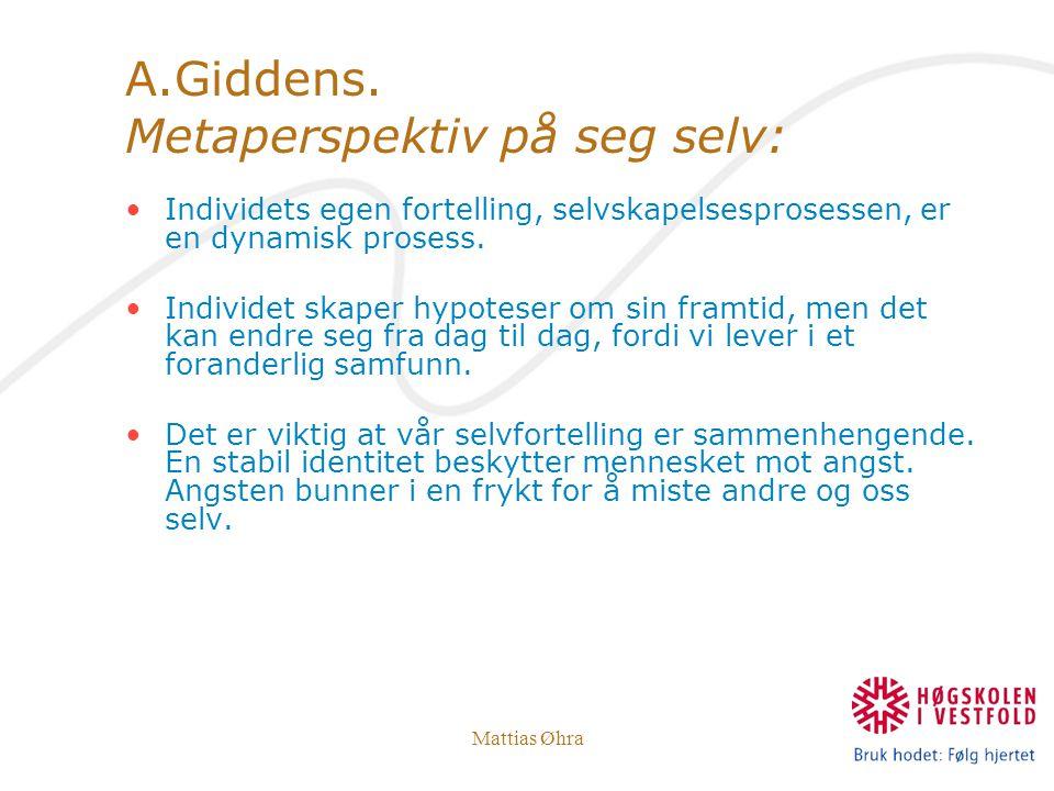 Mattias Øhra A.Giddens. Metaperspektiv på seg selv: Individets egen fortelling, selvskapelsesprosessen, er en dynamisk prosess. Individet skaper hypot