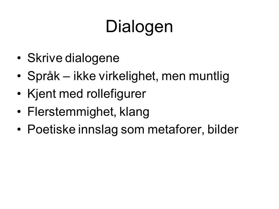 Dialogen Skrive dialogene Språk – ikke virkelighet, men muntlig Kjent med rollefigurer Flerstemmighet, klang Poetiske innslag som metaforer, bilder