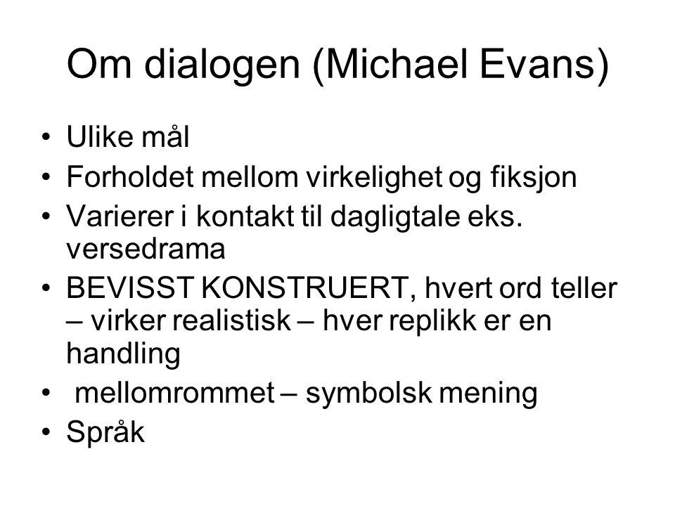 Om dialogen (Michael Evans) Ulike mål Forholdet mellom virkelighet og fiksjon Varierer i kontakt til dagligtale eks.