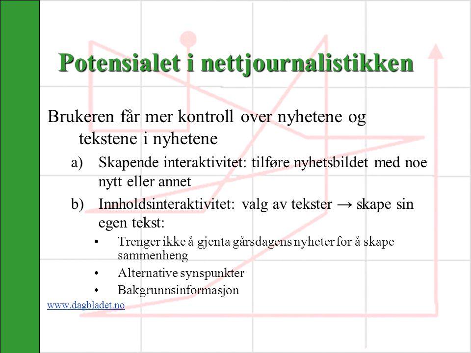 Potensialet i nettjournalistikken Brukeren får mer kontroll over nyhetene og tekstene i nyhetene a)Skapende interaktivitet: tilføre nyhetsbildet med n