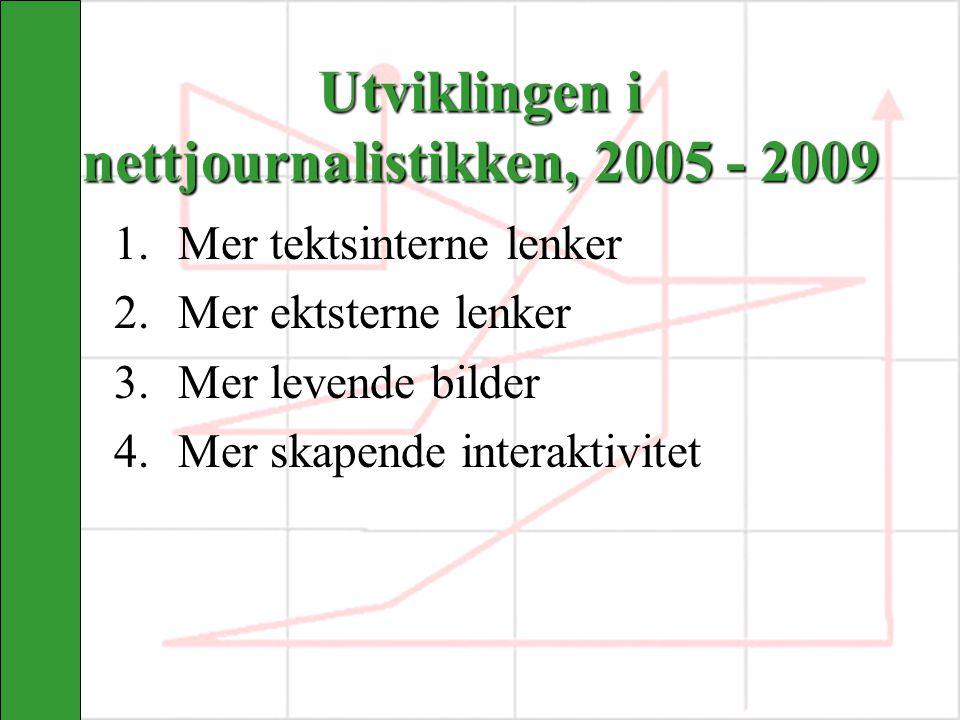 Utviklingen i nettjournalistikken, 2005 - 2009 1. 1.Mer tektsinterne lenker 2. 2.Mer ektsterne lenker 3. 3.Mer levende bilder 4. 4.Mer skapende intera