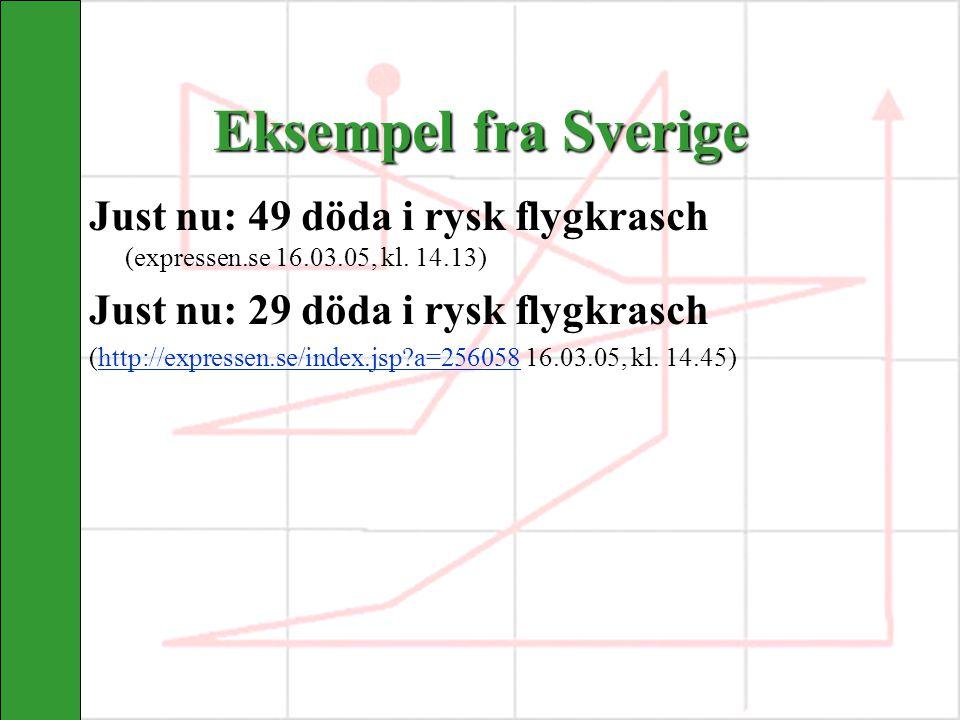 Eksempel fra Sverige Just nu: 49 döda i rysk flygkrasch (expressen.se 16.03.05, kl. 14.13) Just nu: 29 döda i rysk flygkrasch (http://expressen.se/ind
