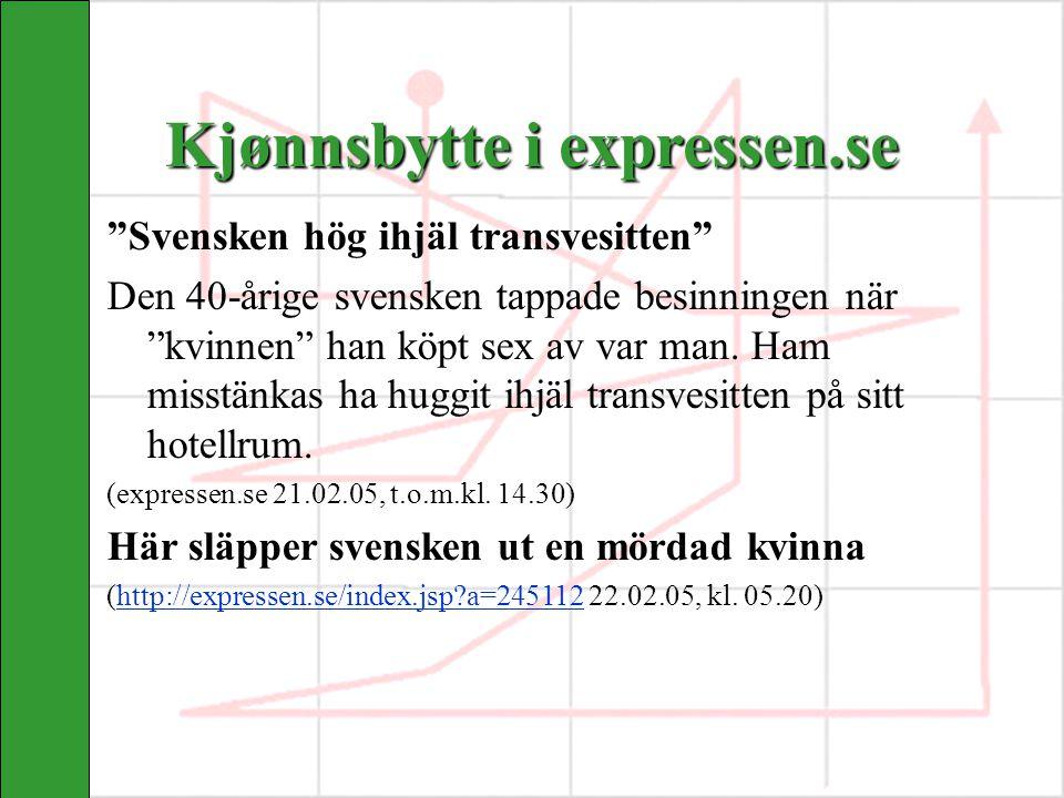 """Kjønnsbytte i expressen.se """"Svensken hög ihjäl transvesitten"""" Den 40-årige svensken tappade besinningen när """"kvinnen"""" han köpt sex av var man. Ham mis"""