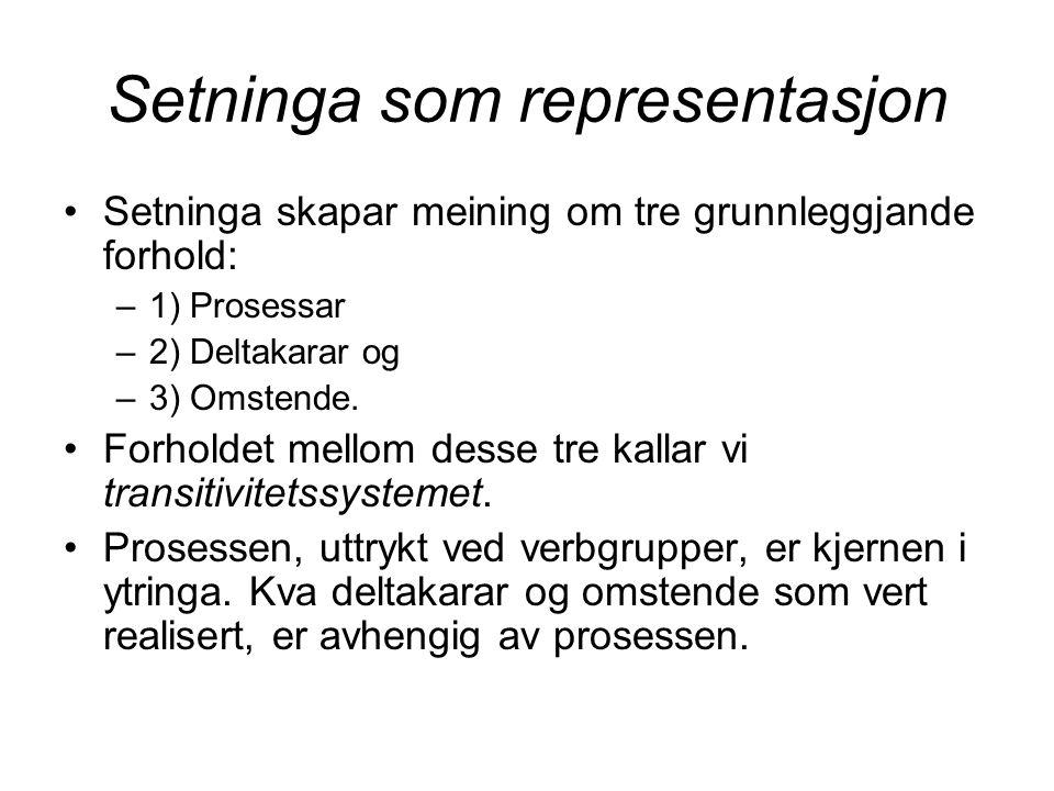 Setninga som representasjon Setninga skapar meining om tre grunnleggjande forhold: –1) Prosessar –2) Deltakarar og –3) Omstende.