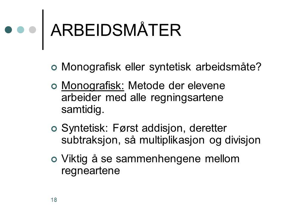 18 ARBEIDSMÅTER Monografisk eller syntetisk arbeidsmåte.