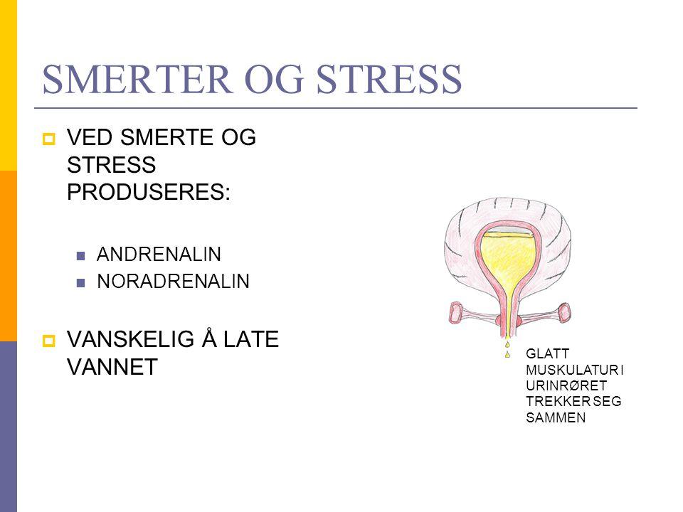 SYKEPLEIERTILTAK  LINDRE SMERTER  FJERNE KILDER TIL STRESS HVIS MULIG  YTRE STIMULI: RENNENDE VANN LUNKEN VARM, VÅT KLUT PÅ MAGEN