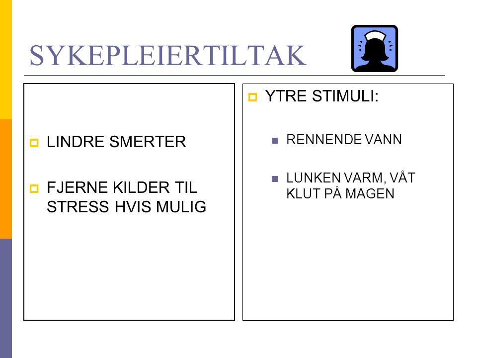 LEGEMIDLER  DIURETIKA (RASKERE FYLLING AV BLÆREN)  ANTIKOLINERGIKA (DEMPER BLÆRENS AKTIVITET)  ALFABLOKKERE (SENKER TRYKKET I URINRØRET)  ALFAADRENERGE STIMULATORER (ØKER TRYKKET I URINRØRET)