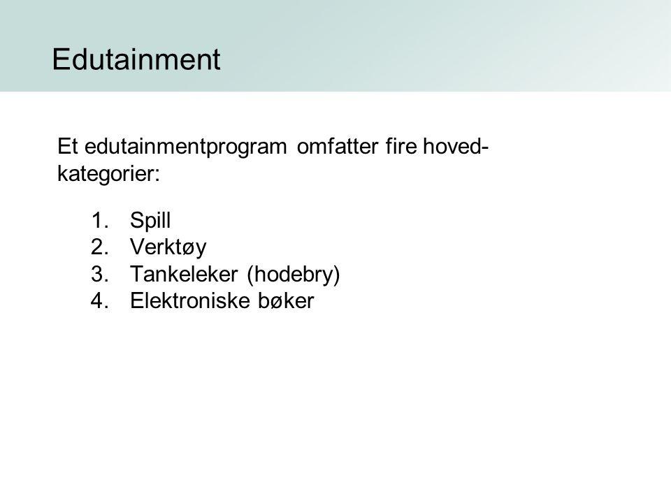 Edutainment Et edutainmentprogram omfatter fire hoved- kategorier: 1.Spill 2.Verktøy 3.Tankeleker (hodebry) 4.Elektroniske bøker