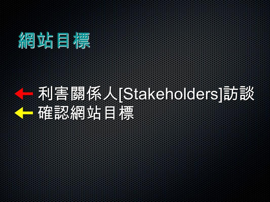 網站目標 利害關係人 [Stakeholders] 訪談 確認網站目標 利害關係人 [Stakeholders] 訪談 確認網站目標
