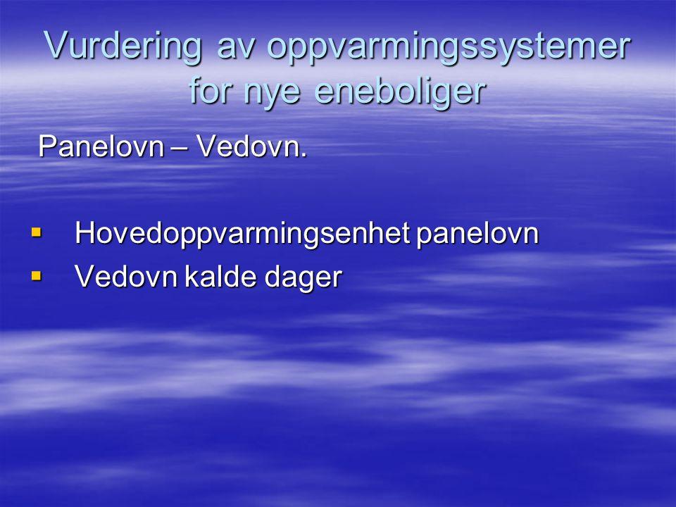 Vurdering av oppvarmingssystemer for nye eneboliger Panelovn – Vedovn.