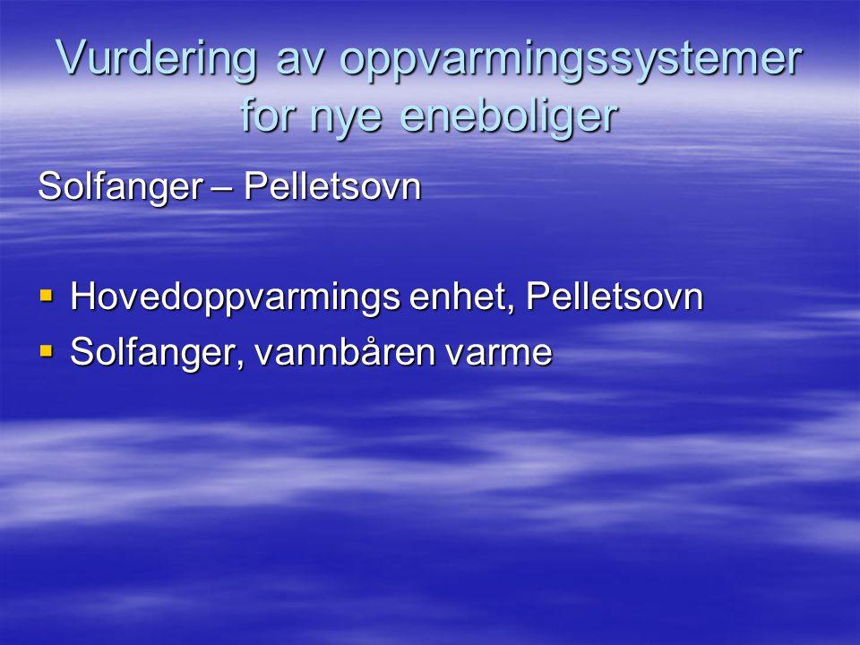 Vurdering av oppvarmingssystemer for nye eneboliger Solfanger – Pelletsovn  Hovedoppvarmings enhet, Pelletsovn  Solfanger, vannbåren varme