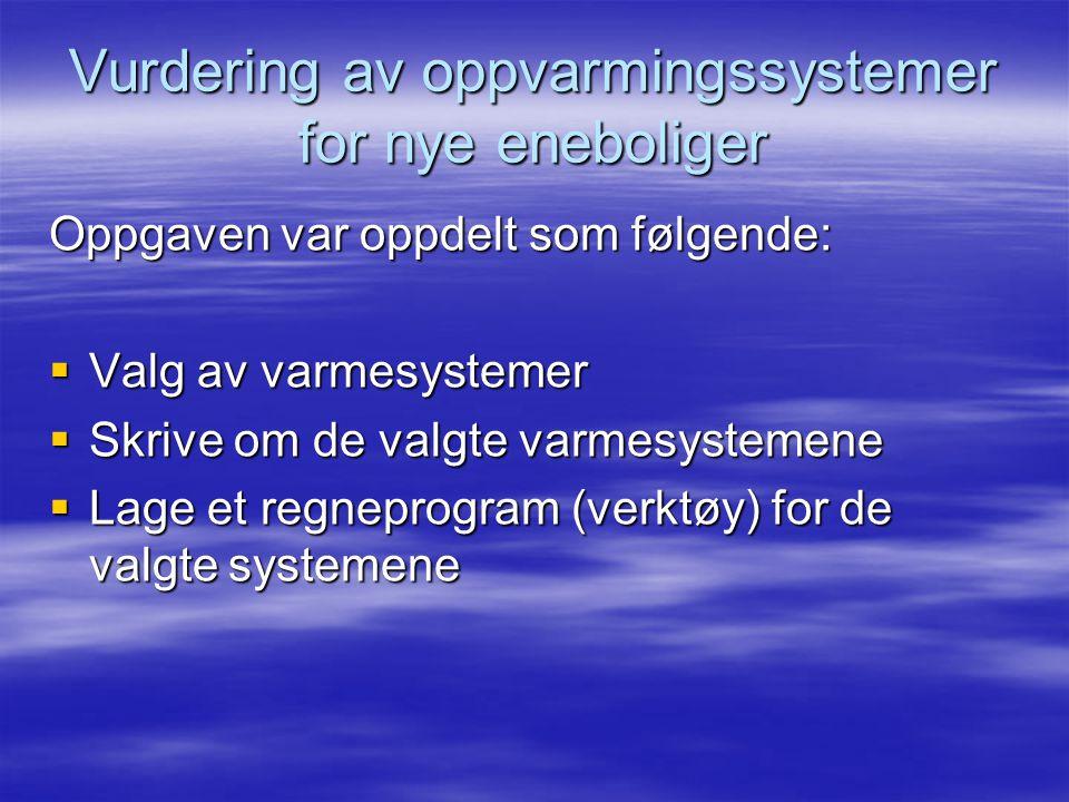 Vurdering av oppvarmingssystemer for nye eneboliger Oppgaven var oppdelt som følgende:  Valg av varmesystemer  Skrive om de valgte varmesystemene  Lage et regneprogram (verktøy) for de valgte systemene