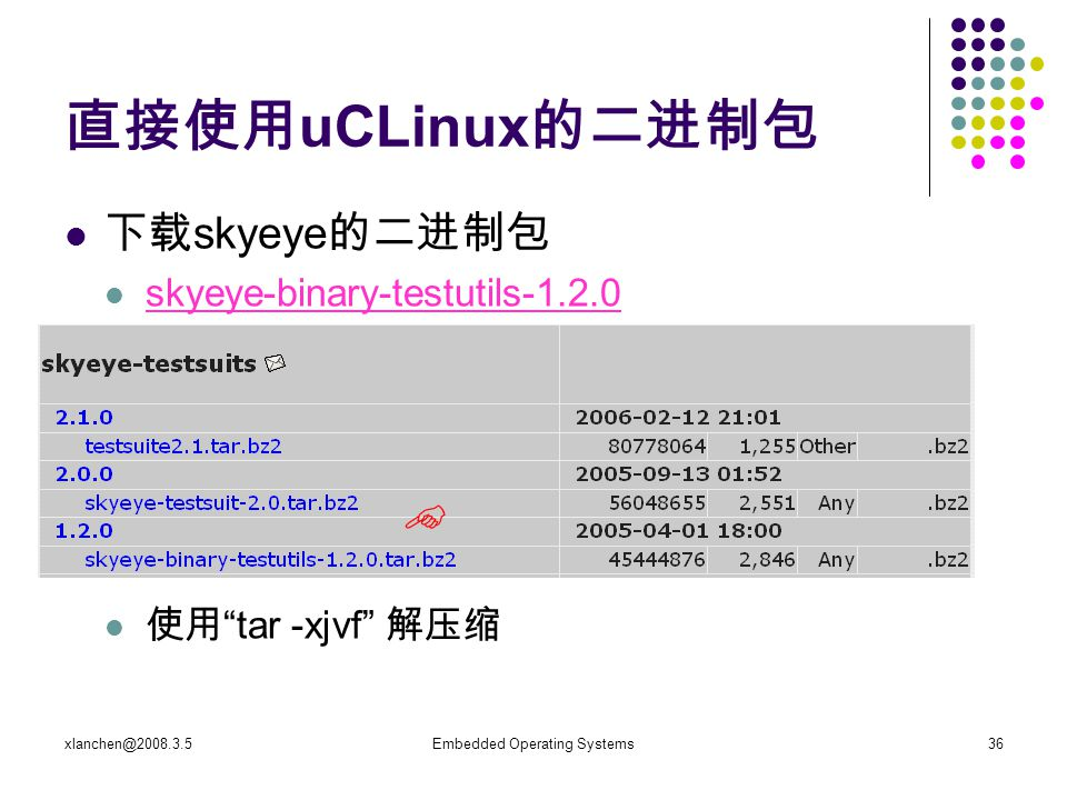 xlanchen@2008.3.5Embedded Operating Systems36 直接使用 uCLinux 的二进制包 下载 skyeye 的二进制包 skyeye-binary-testutils-1.2.0 使用 tar -xjvf 解压缩 