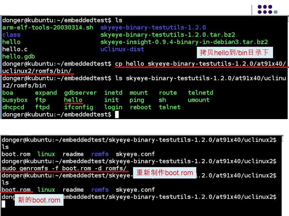 xlanchen@2008.3.5Embedded Operating Systems40 拷贝 hello 到 /bin 目录下 重新制作 boot.rom 新的 boot.rom