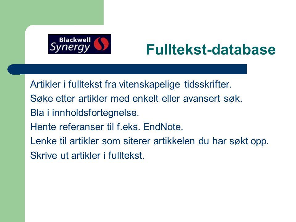 Åpningsbilde i Synergy Velg subscribed journals
