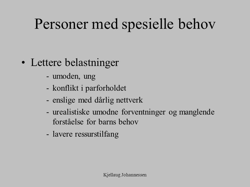 Kjellaug Johannessen Personer med spesielle behov Lettere belastninger -umoden, ung -konflikt i parforholdet -enslige med dårlig nettverk -urealistiske umodne forventninger og manglende forståelse for barns behov -lavere ressurstilfang