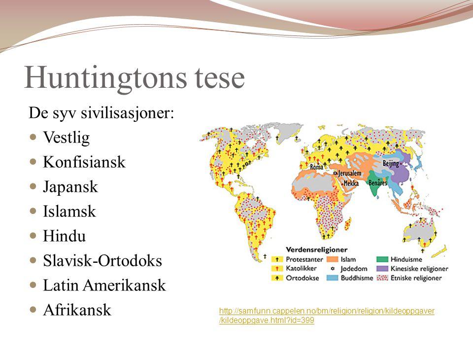 Huntingtons tese De syv sivilisasjoner: Vestlig Konfisiansk Japansk Islamsk Hindu Slavisk-Ortodoks Latin Amerikansk Afrikansk http://samfunn.cappelen.no/bm/religion/religion/kildeoppgaver /kildeoppgave.html?id=399