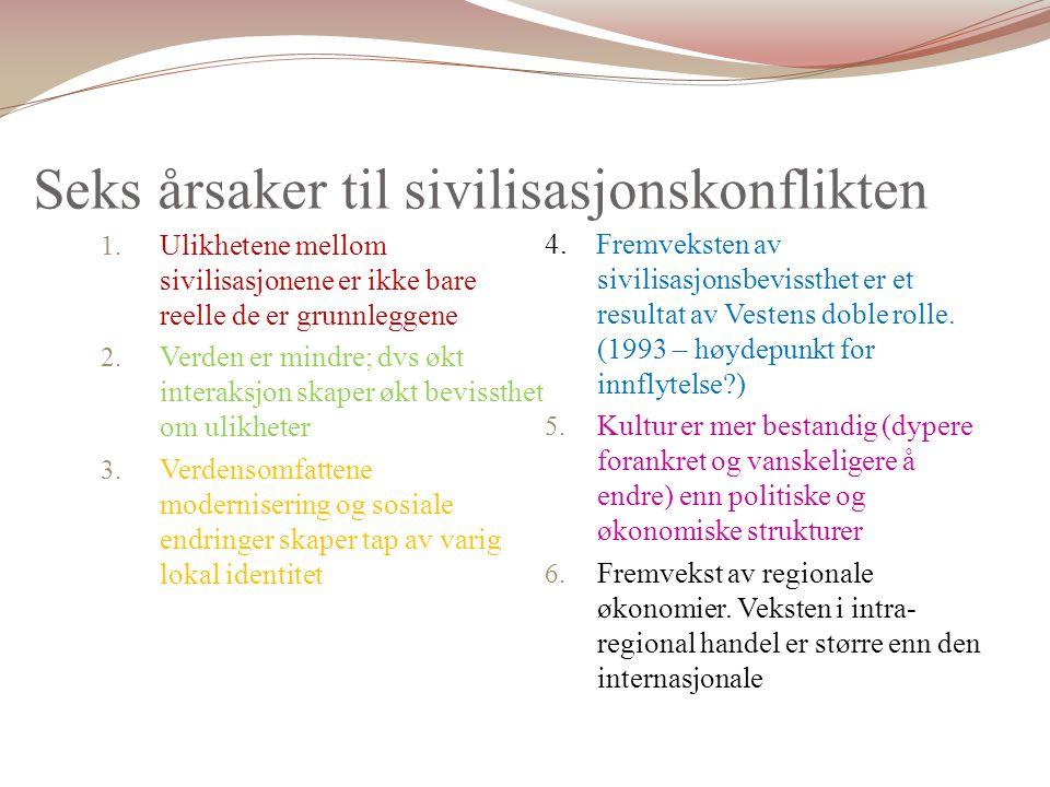 Seks årsaker til sivilisasjonskonflikten 1.