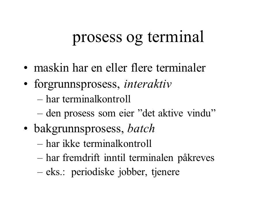 """prosess og terminal maskin har en eller flere terminaler forgrunnsprosess, interaktiv –har terminalkontroll –den prosess som eier """"det aktive vindu"""" b"""