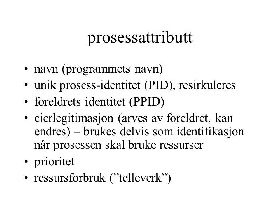 prosessattributt navn (programmets navn) unik prosess-identitet (PID), resirkuleres foreldrets identitet (PPID) eierlegitimasjon (arves av foreldret,