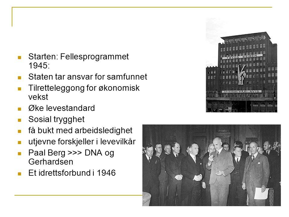 Starten: Fellesprogrammet 1945: Staten tar ansvar for samfunnet Tilretteleggong for økonomisk vekst Øke levestandard Sosial trygghet få bukt med arbei