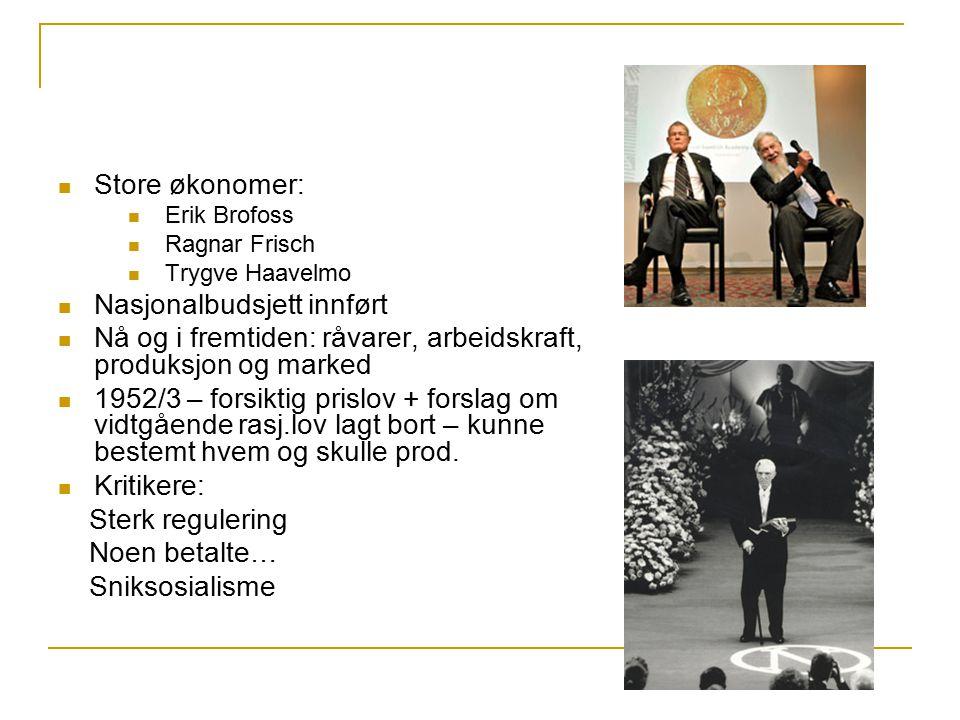 Store økonomer: Erik Brofoss Ragnar Frisch Trygve Haavelmo Nasjonalbudsjett innført Nå og i fremtiden: råvarer, arbeidskraft, produksjon og marked 195