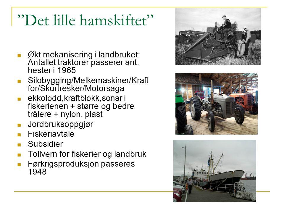 """""""Det lille hamskiftet"""" Økt mekanisering i landbruket: Antallet traktorer passerer ant. hester i 1965 Silobygging/Melkemaskiner/Kraft for/Skurtresker/M"""