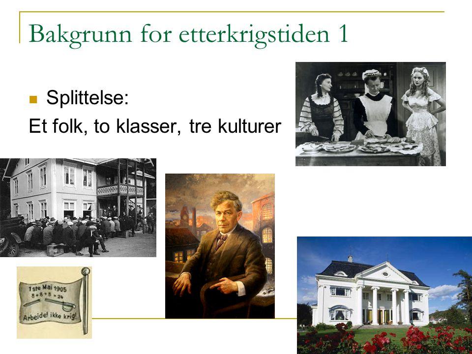 Bakgrunn for etterkrigstiden 2 Nasjonalistiske strømninger Tre nasjonale revolusjoner i norgeshistorien: 1814, 1905 og 1945.