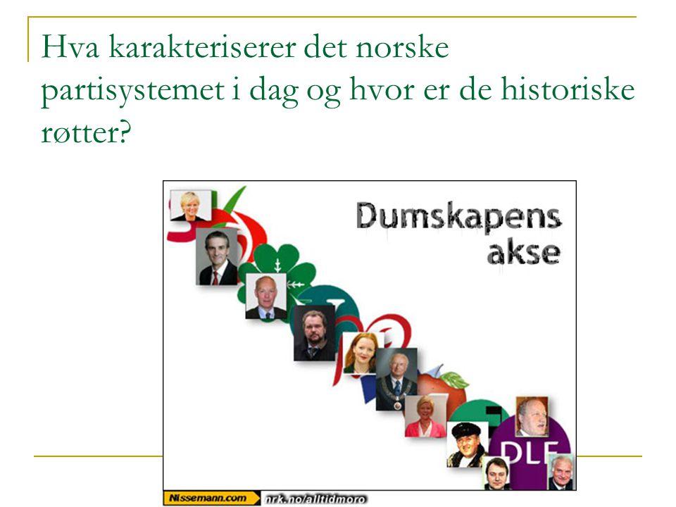 Hva karakteriserer det norske partisystemet i dag og hvor er de historiske røtter?