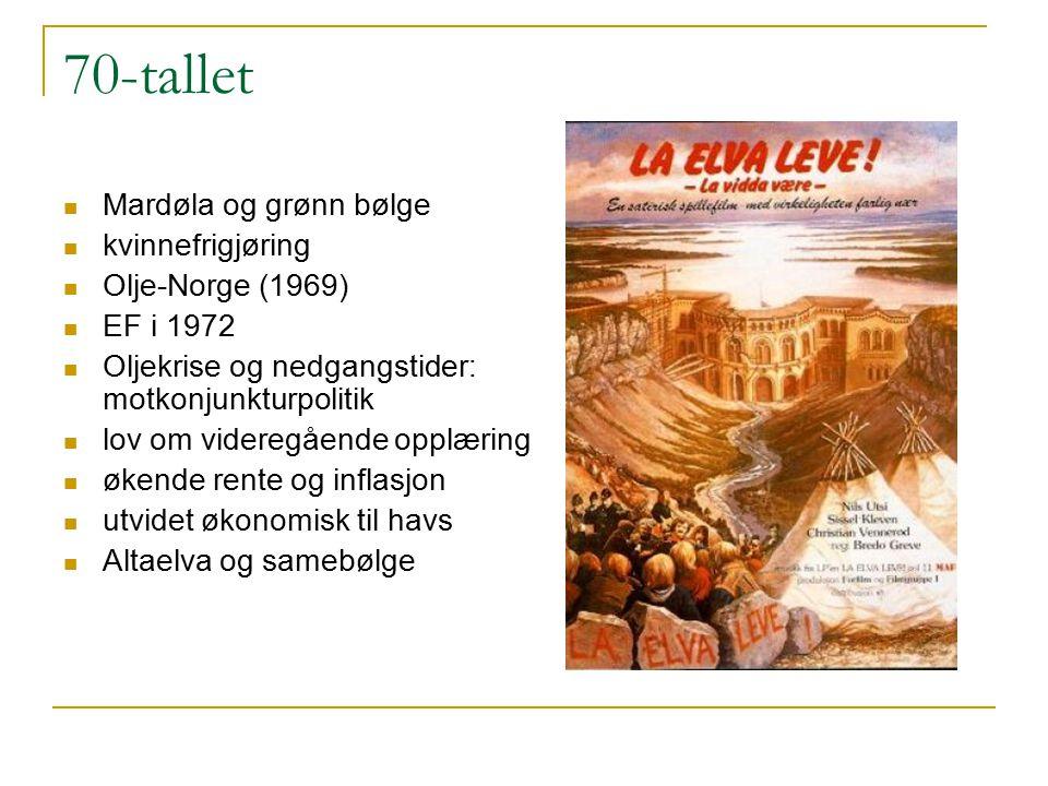 70-tallet Mardøla og grønn bølge kvinnefrigjøring Olje-Norge (1969) EF i 1972 Oljekrise og nedgangstider: motkonjunkturpolitik lov om videregående opp