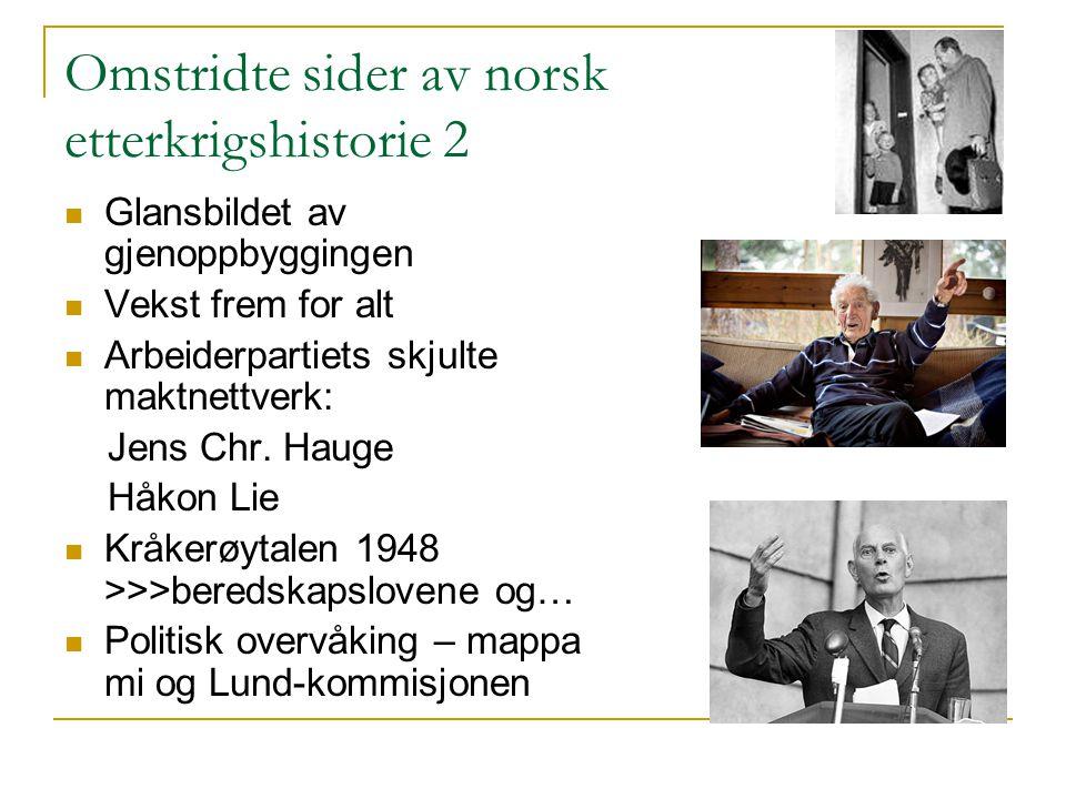 Omstridte sider av norsk etterkrigshistorie 2 Glansbildet av gjenoppbyggingen Vekst frem for alt Arbeiderpartiets skjulte maktnettverk: Jens Chr. Haug