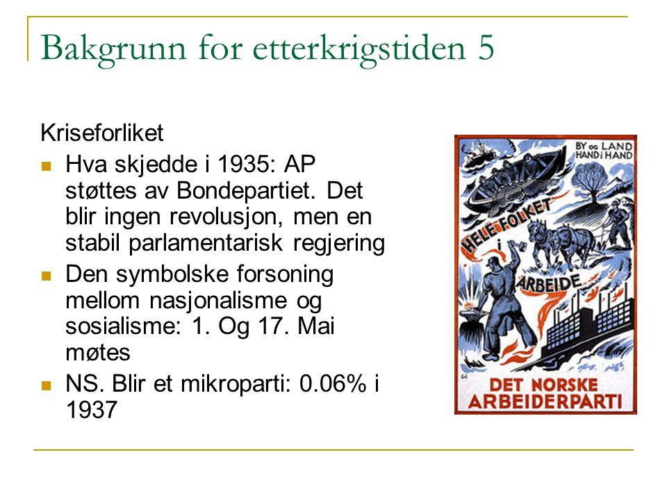 Bakgrunn for etterkrigstiden 5 Kriseforliket Hva skjedde i 1935: AP støttes av Bondepartiet. Det blir ingen revolusjon, men en stabil parlamentarisk r