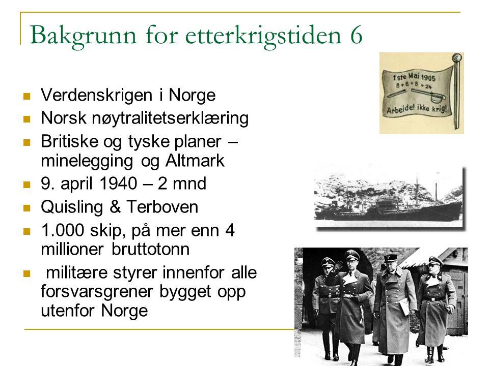 Bakgrunn for etterkrigstiden 6 Verdenskrigen i Norge Norsk nøytralitetserklæring Britiske og tyske planer – minelegging og Altmark 9. april 1940 – 2 m
